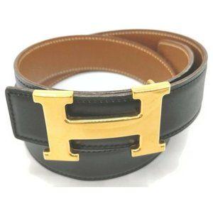Auth Hermes H Constance Reversible Gold-tone Belt